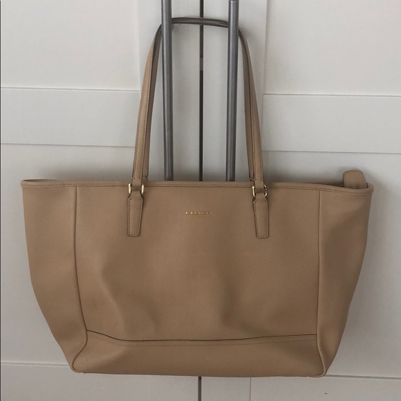 Coach Handbags - Coach Saffiano Leather East West Tote (Camel)